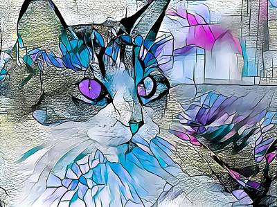 Recently Sold - Animals Digital Art - Stained Glass Cat Profile Blue by Don Northup