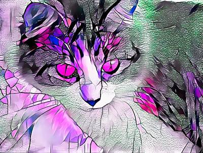 Recently Sold - Animals Digital Art - Stained Glass Cat Stare Pink Eyes by Don Northup