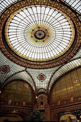 Photograph - Stained Glass Dome Of Societe Generale by Manfred Hofer