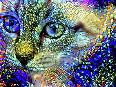 Digital Art - Stained Glass Kitten Art by Peggy Collins