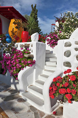 Mykonos Photograph - Stairs And Flowers, Chora, Mykonos by Danita Delimont