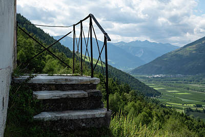 Travel Rights Managed Images - Stairs of St. Martin chapel of Laas on a sunny day in summer Royalty-Free Image by Stefan Rotter