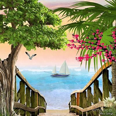 Thomas Kinkade - Stairway to the Sea by Gena Livings
