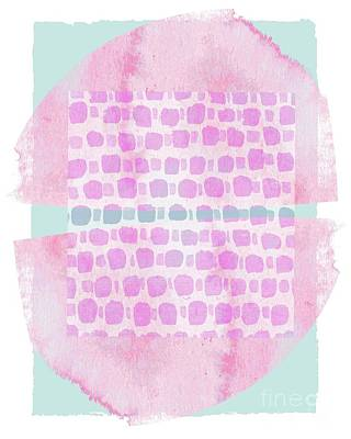 Mixed Media - Stamped Geometric Purple On Turquoise by Patricia Strand