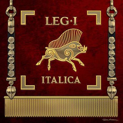 Digital Art - Standard Of The Italian First Legion - Vexilloid Of Legio I Italica by Serge Averbukh