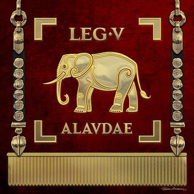 Digital Art - Standard Of The Lark-crested Fifth Legion - Vexilloid Of Legio V Alaudae by Serge Averbukh