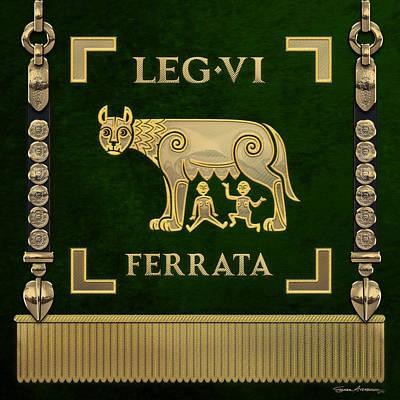 Digital Art - Standard Of The Sixth Ironclad Legion - Green She-wolf Vexilloid Of Legio Vi Ferrata by Serge Averbukh