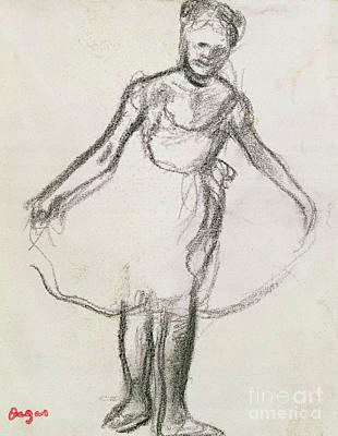 Pastel - Standing Dancer Holding Tutu  by Edgar Degas