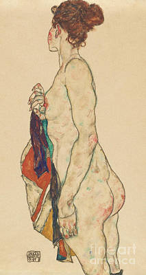 Painting - Standing Nude With A Patterned Robe, 1917  by Egon Schiele