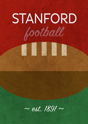 Stanford Wall Art - Mixed Media - Stanford Football Minimalist Retro Sports Poster Series 016 by Design Turnpike