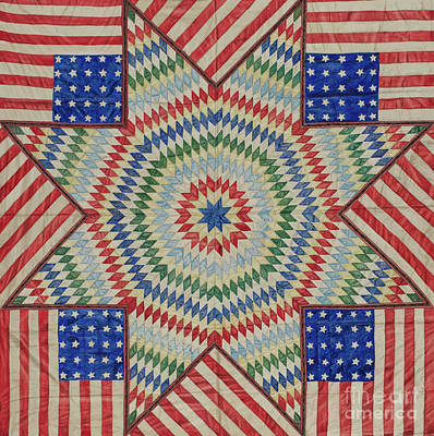 Tapestry - Textile - Star And Flag Quilt Design by American School