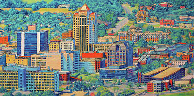 Anthem Wall Art - Painting - Star City Of The South - Roanoke Virginia by Bonnie Mason