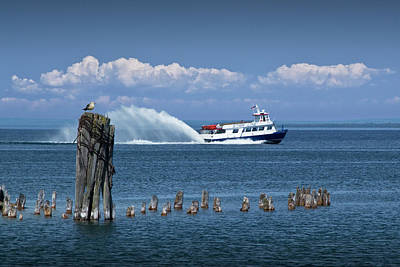 Photograph - Star Line Ferry Boat To Mackinac Island On Lake Huron Near The Straits Of Mackinac by Randall Nyhof