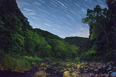 Okayama Prefecture Photograph - Star Trails Over A River With Fireflies by Tdubphoto