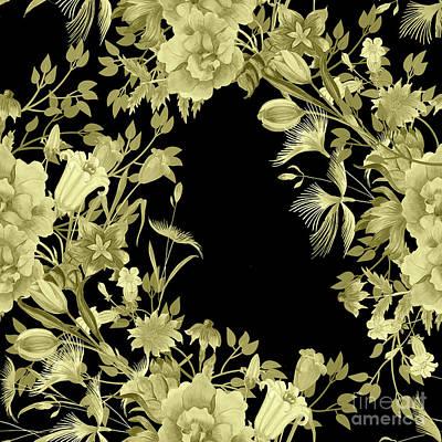 Digital Art - Stardust Black And Gold Floral Motif  by Sharon Mau
