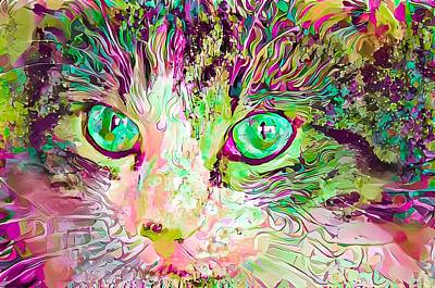 Surrealism Digital Art - Stare Into My Green Cat Eyes by Don Northup