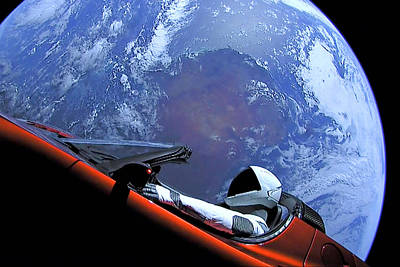 Photograph - Starman, Tesla And Earth Outer Space Image by Bill Swartwout Fine Art Photography