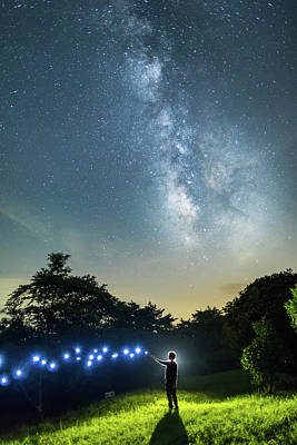 Photograph - Starry Sky With Lights by Trevor Williams