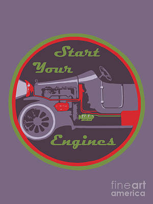 Drawing - Start Your Engines by Aapshop