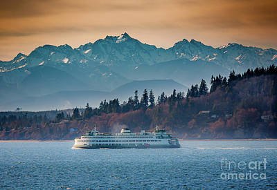 Mountain Rights Managed Images - State Ferry and the Olympics Royalty-Free Image by Inge Johnsson