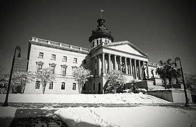 Photograph - State House Snow 2010 B W 1 by Joseph C Hinson Photography