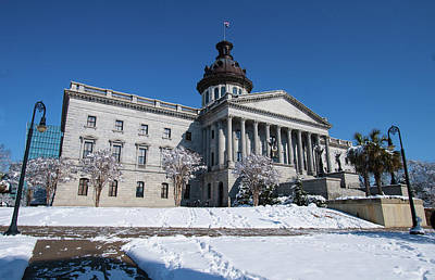 Photograph - State House Snow Color 2010 A by Joseph C Hinson Photography