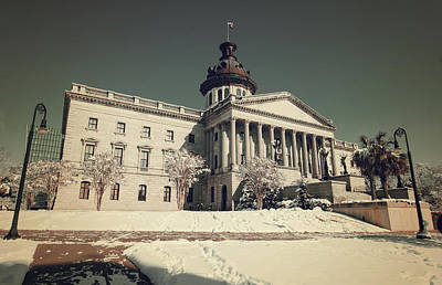 Photograph - State House Snow Color 2010 Vintage 1 by Joseph C Hinson Photography
