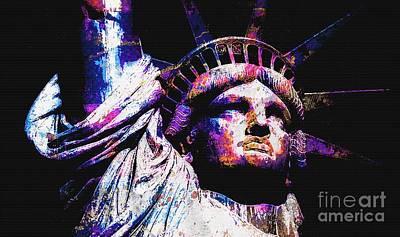 Namaste With Pixels Royalty Free Images - Statue Of Liberty 8 Royalty-Free Image by Otis Porritt