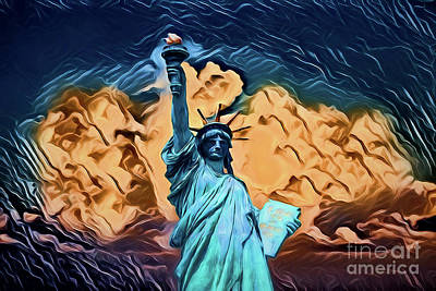 Painting - Statue Of Liberty A1910  by Ray Shrewsberry