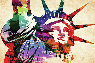Landmarks Royalty Free Images - Statue of Liberty colorful watercolor Royalty-Free Image by Mihaela Pater