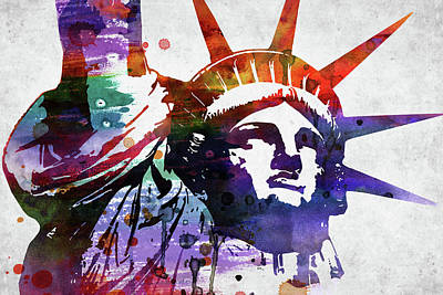 Landmarks Royalty Free Images - Statue of Liberty watercolor on grey paper Royalty-Free Image by Mihaela Pater