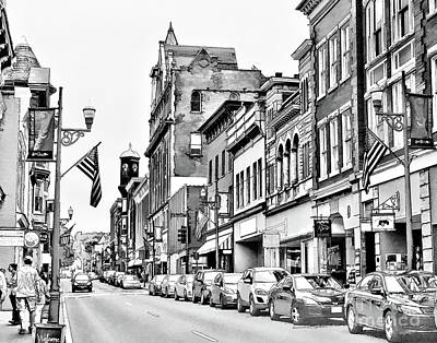 Photograph - Staunton Virginia Historic District Black And White by Kerri Farley