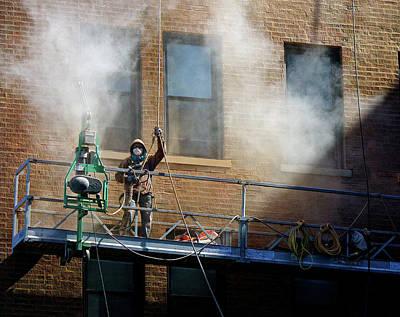Katharine Hepburn - Steam Cleaning a Building by Robert Frank Gabriel