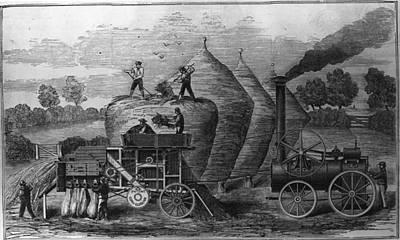 Steam Threshing Art Print by Hulton Archive