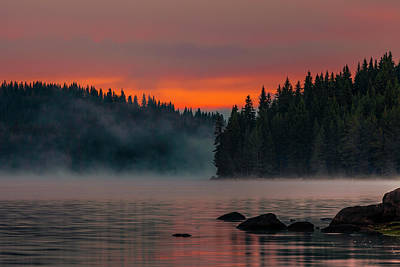 Mountain Royalty-Free and Rights-Managed Images - Steaming Lake by Evgeni Dinev
