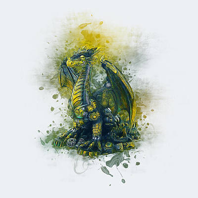 Digital Art - Steampunk Dragon by Ian Mitchell
