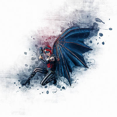 Steampunk Drawings - Steampunk Fairy Angel by Ian Mitchell