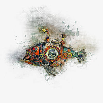 Animals Drawings - Steampunk Fish by Ian Mitchell