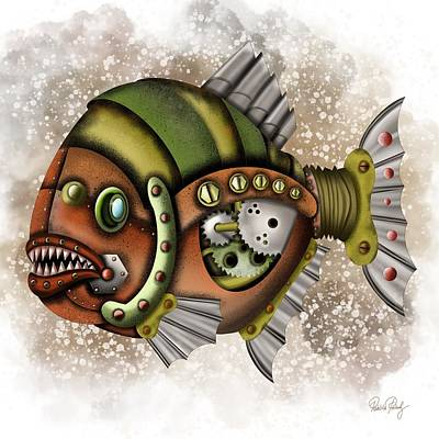 Painting - Steampunk Fish by Patricia Piotrak