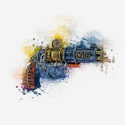 Digital Art - Steampunk Gun by Ian Mitchell