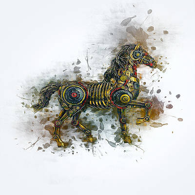 Steampunk Royalty-Free and Rights-Managed Images - Steampunk Horse  by Ian Mitchell
