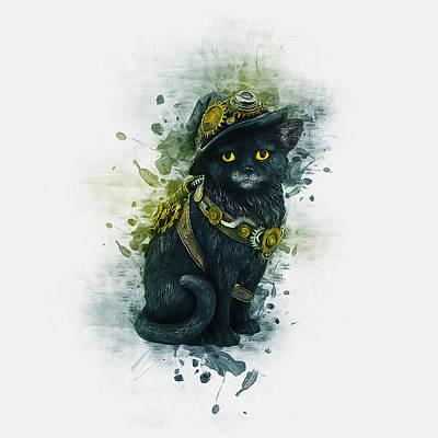 Digital Art - Steampunk Kitty by Ian Mitchell