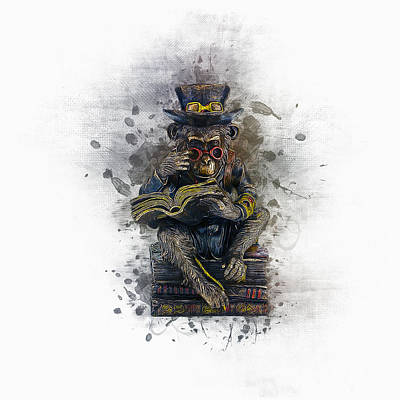 Digital Art - Steampunk Monkey by Ian Mitchell