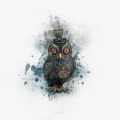 Digital Art - Steampunk Owl by Ian Mitchell