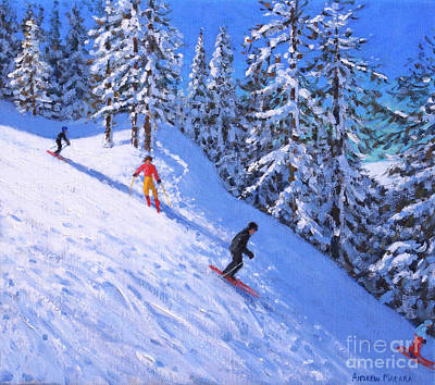 Painting - Steep Slope, Les Arcs, France by Andrew Macara