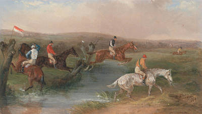 Painting - Steeplechasing - The Hurdle by William J Shayer