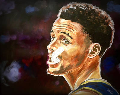 Painting - Steph Curry And Mouthpiece by Joel Tesch