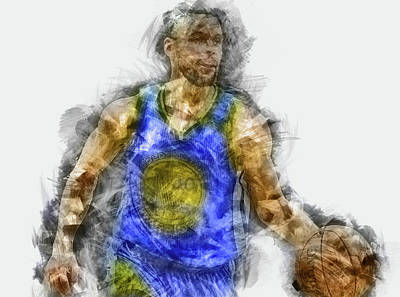 Painting - Steph Curry, Golden State Warriors - 27 by Andrea Mazzocchetti