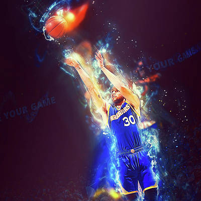 Painting - Steph Curry, Golden State Warriors - 29 by Andrea Mazzocchetti