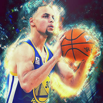 Painting - Steph Curry, Golden State Warriors - 30 by Andrea Mazzocchetti